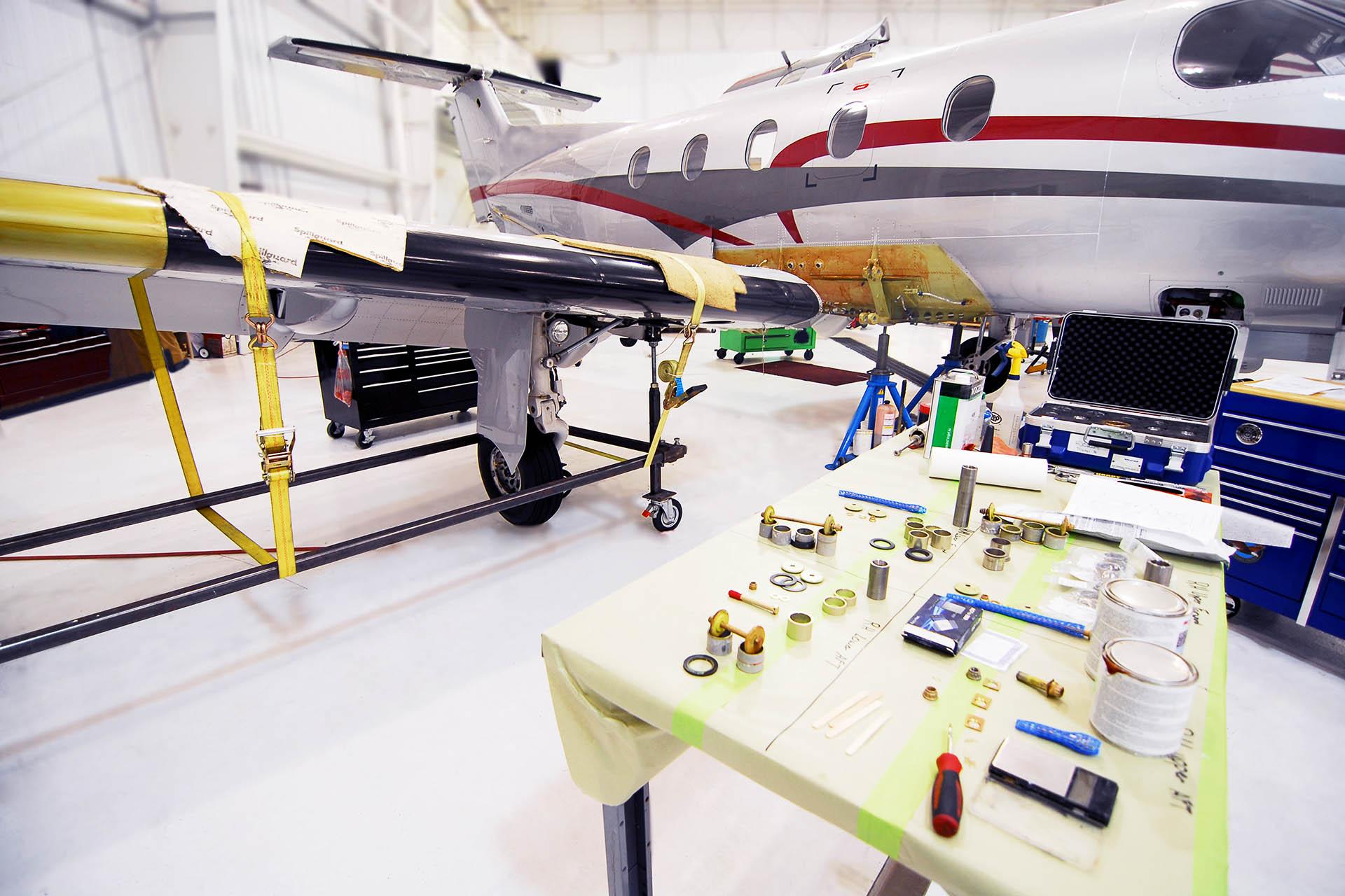 pc-12 pilatus service fargo jet center wing inspection