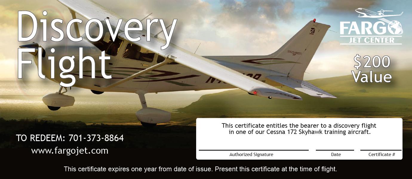 fargo jet center discovery flight certificate